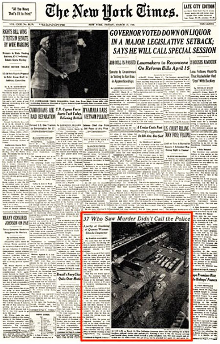 The NY Times front page 28 March 1964 - genovese
