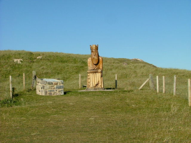 Statue on the Isle of Lewis where the chessmen were found.